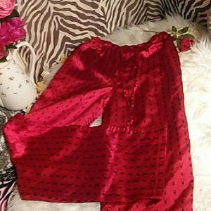 Red Playboy Silk Pajama Pants